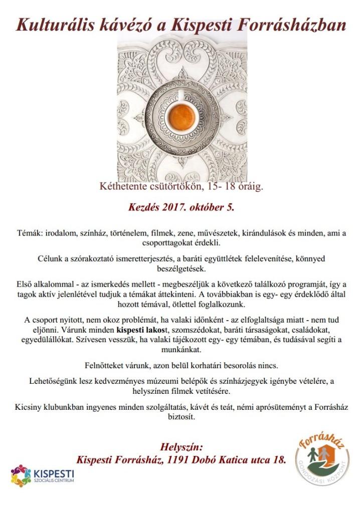 Kulturális kávézó a Kispesti Forrásházban